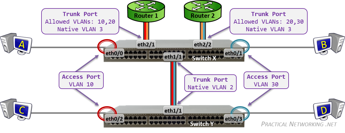 assign ip home address towards trunk area port